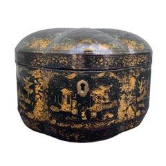 Export Melon Shaped Chinoiserie Box, circa 1840