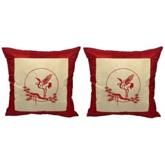 1970s Red and White Silk Pillows with Embroidered Asian Crane Motif, Pair