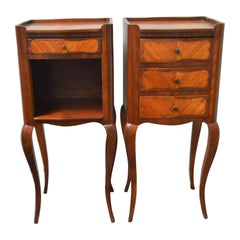 Pair of Small Transitional Style In-Lay Wood Side Tables