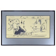 Contemporary Framed Litho French Money Gold Signed Larry Rivers, 1992