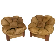 Pair of Walnut and Brown Suede Lounge Chairs with Brass Details, Italy, 1980s