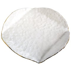 Matzoh Plate by Isabel Halley in Pinched White Porcelain with 22K Gold Luster