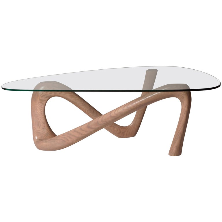 Amorph Iris Coffee Table With Glass Gray Oak Finish For Sale At 1stdibs