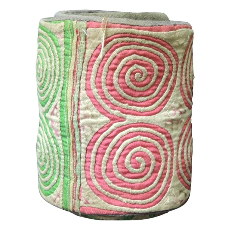 Vintage Green and Pink Asian Quilted Colorful Decorative Trims