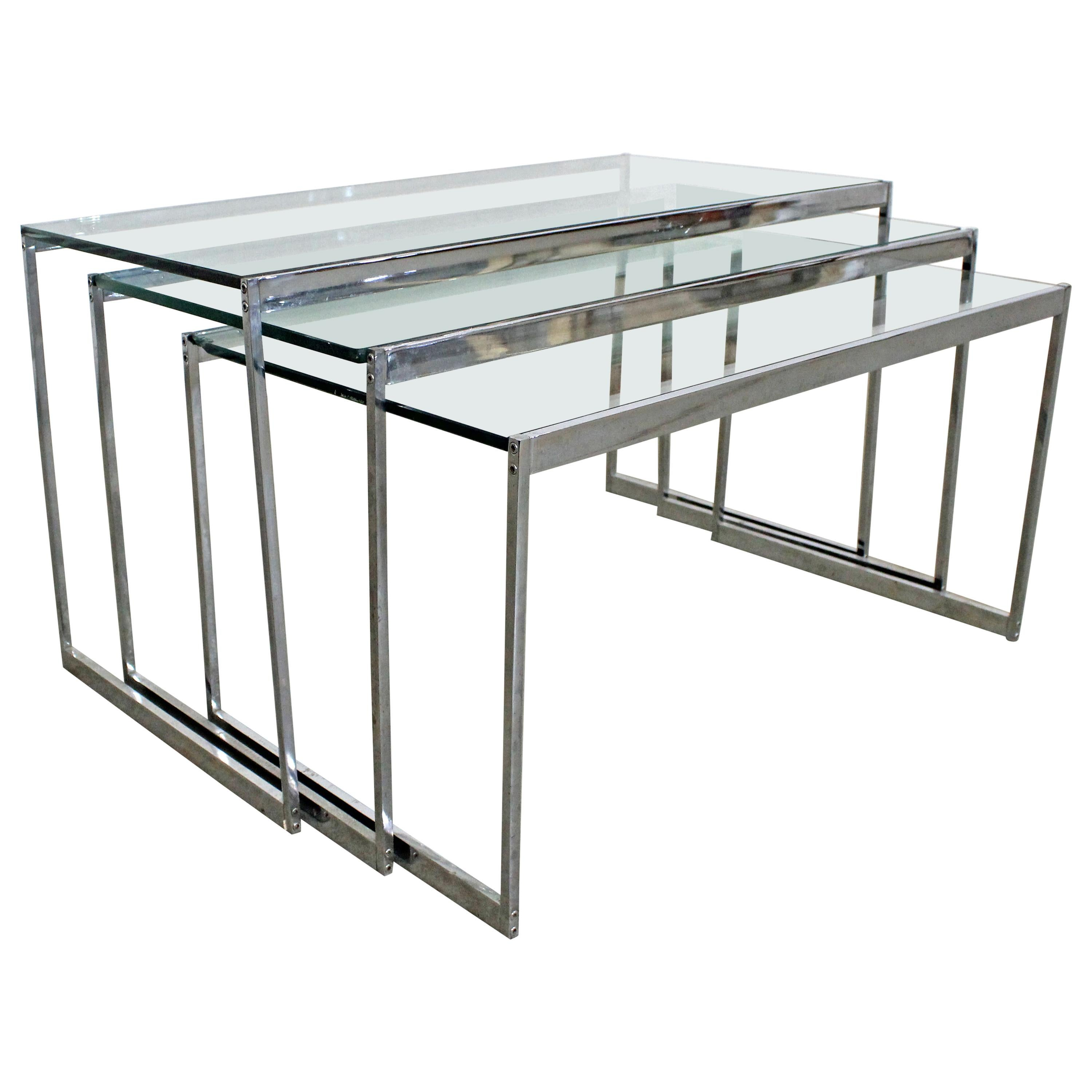 Set of 3 Mid-Century Modern Chrome and Glass Top Nesting End Tables