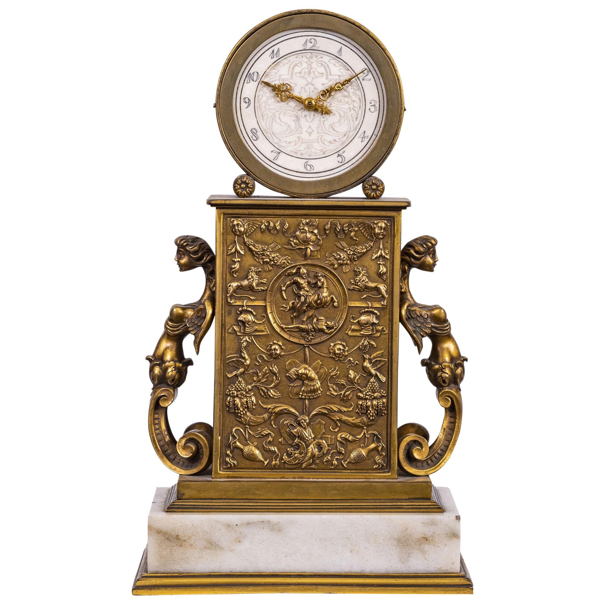 Edward F. Caldwell & Co. Metal Table Clock
