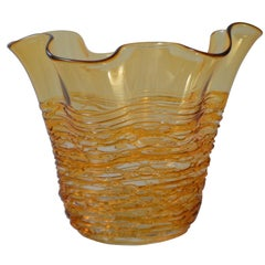 Hand Blown Decorative Murano Gold Glass Vase with a Lace Design