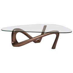 Iris Coffee Table with Glass, Dark Bronze Finish