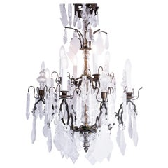Italian Brass and Bronze Rock Crystal Chandelier, circa 1890