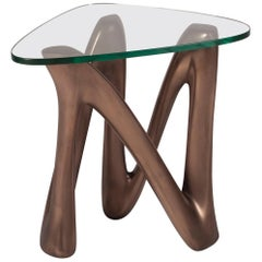 Amorph Ronia Side Table with Glass, Dark Bronze