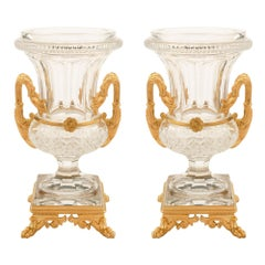 Pair of French 19th Century Louis XVI Style Baccarat and Ormolu Vases