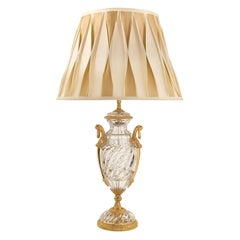 French 19th Century Louis XVI Style Baccarat Crystal and Ormolu Lamp