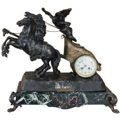 19th Century Mantel Clock of Roman Chariot on Marble Base