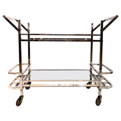 Slim Bar Cart in Chromed Metal with Mirrors original French Art Deco 1930s