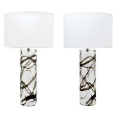 Pair of Murano Mercury and Smoked Glass Lamps