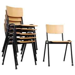 Blonde Plywood Industrial Stacking Chairs with Black Enameled Metal Frame
