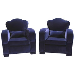 Pair of French Art Deco Velvet Club Armchairs, 1940s