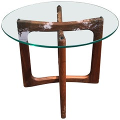 Sculptural Base Walnut and Glass End Table by Adrian Pearsall
