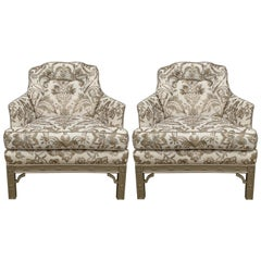 1950s Chinoiserie Armchairs with Scalamandre Damask Linen Upholstery, Pair