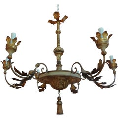 18th Century Italian Genovese Giltwood Chandelier
