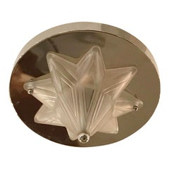French Art Deco Starburst Flush Mount Chandelier by Genet Et Michon