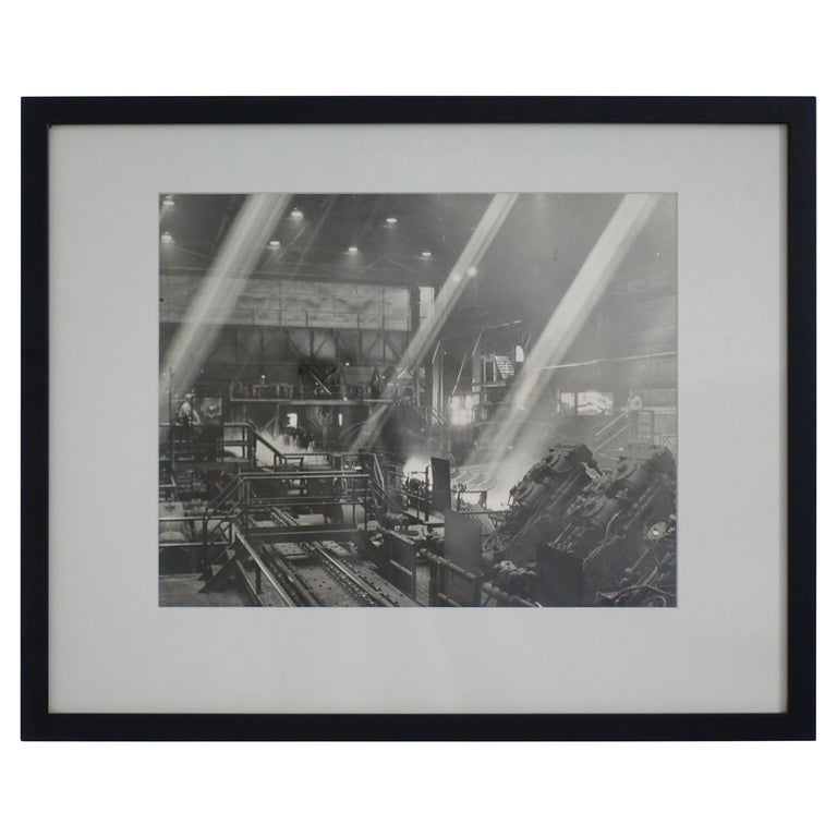 Black and White Industrial Factory Scene Photograph, American, 20th Century For Sale