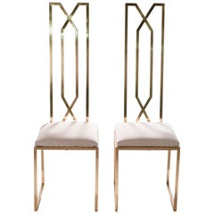 Rare Pair of Chairs by Willy Rizzo for Maison Jansen, 1970s