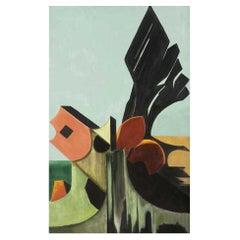"Daniele Perre ""L'helice aux algues"" Oil on Canvas, circa 1984"