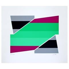 Mid-Century Modern Unframed Larry Zox Abstract Serigraph Signed 10/25 Green