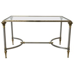 1950s Maison Jansen Brass and Steel Cocktail Table