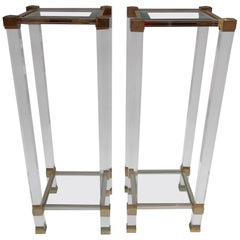 1970 Pair of Hight Stool in Lucite Signed Pierre Vandel Paris