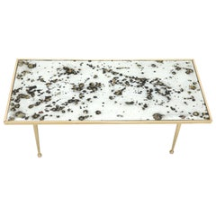 Small Italian Rectangular Coffee Table on Brass Legs Mirrored Top