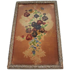 19th Century Therom Floral Painted on Velvet in Frame