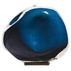 Electric Blue Contemporary Ceramic Vase, Interior Sculpture, Handmade Vessel