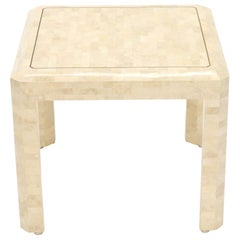 Tesselated Stone Brass Inlay Square Side End Table