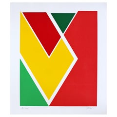 Mid-Century Modern Unframed Larry Zox Abstract Serigraph Signed Red Green Yellow