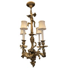 Wonderful French Neoclassical Bronze Patinated Bow Tassle Roccoco Chandelier
