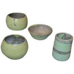 Vintage Handcrafted Aztec Green and Gray Pottery Bowls or Vessel, Set of 4