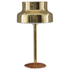 """Bumling"" Table Lamp in Brass and Leather by Anders Pehrson for Ateljé Lyktan"