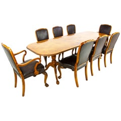 Antique Dining Chairs, Walnut, Leather Seats, Scotland 1930, B1348