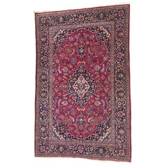 Beautiful Vintage Kashan Style Hand Knotted Rug