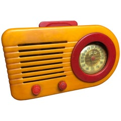 1940 Fada Bullet 116 Bakelite Catalin Radio, Orange and Red