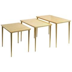 Italian Leather Nesting Tables by Aldo Tura for Tura Mobili