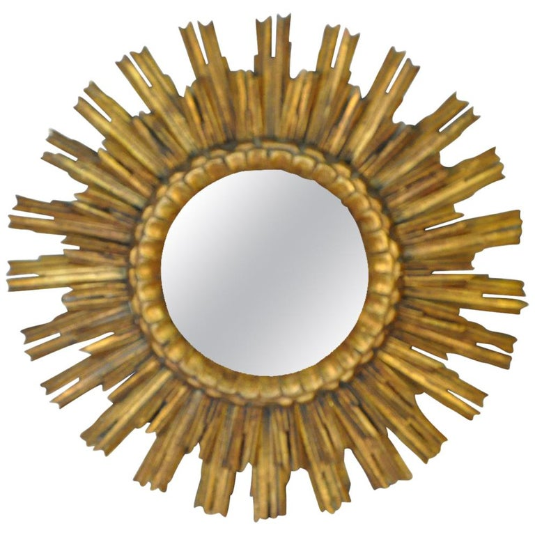 Early 20th Century Spanish Two-Tiered Sunburst Mirror For Sale