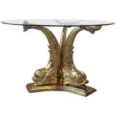1960s Italian Brass Koi Fish Table with Glass