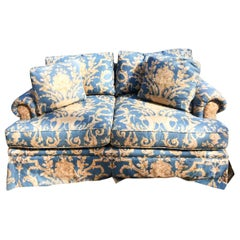 Vintage Blue Linen French Provincial Baker Two-Seat Sofa with Tan Floral Accents