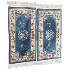 Pair of Vintage Chinese Blue Field Rugs