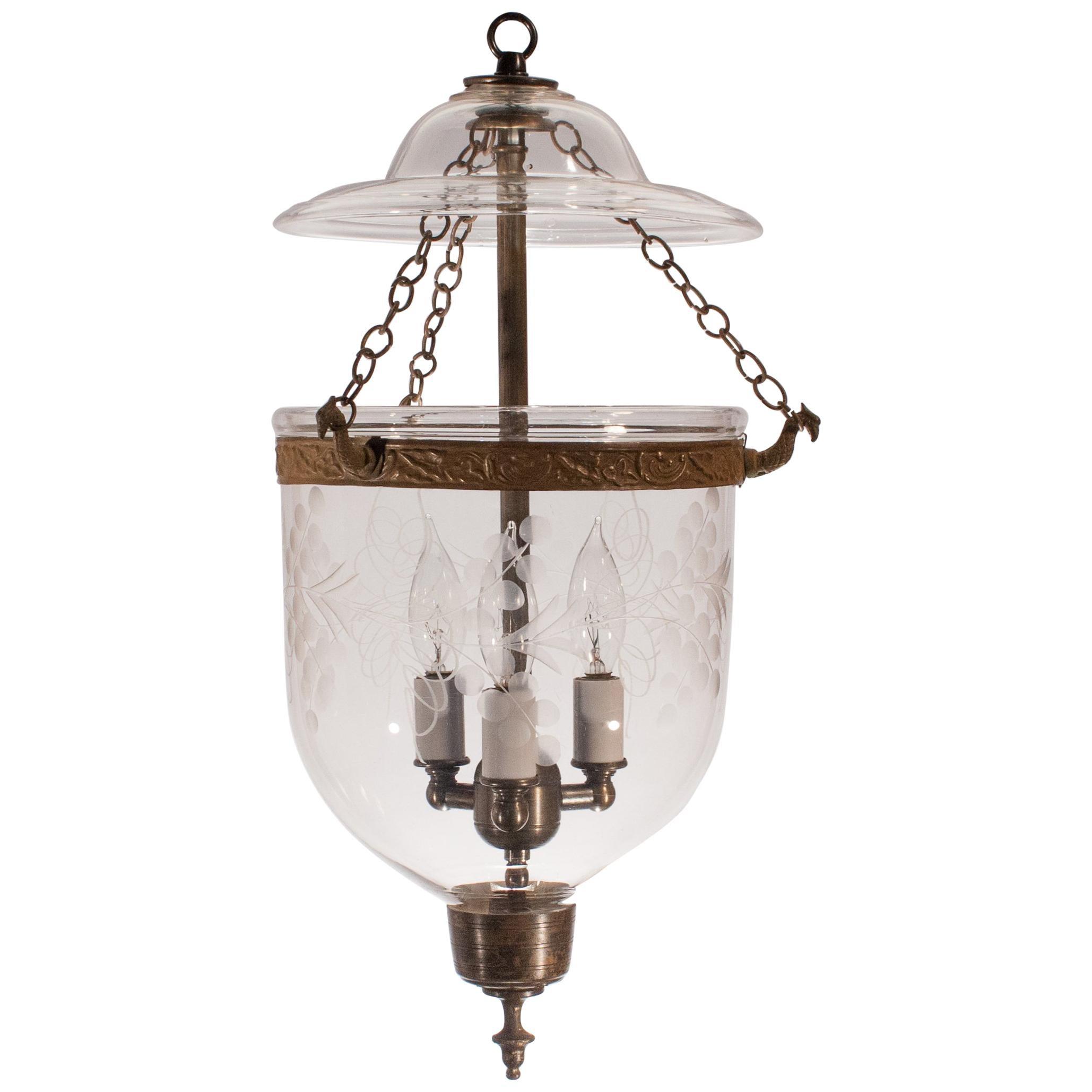Petite Bell Jar Lantern with Vine Etching