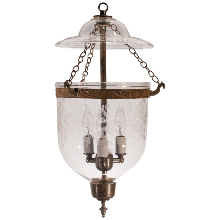 Petite Bell Jar Lantern with Vine Etching For Sale