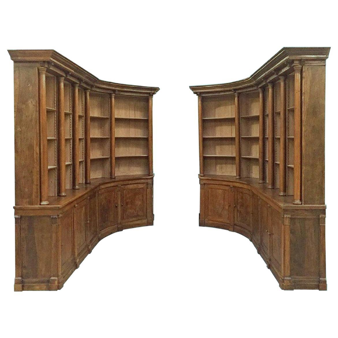 19th Century Walnut Pair of Bookcases Boiserie de Bibliothèque